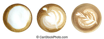 Top of coffee latte isolated on white background with clipping path.