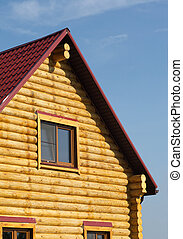 Top of country wooden house in retr