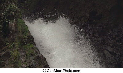 Top of fortuna waterfall in super slow motion