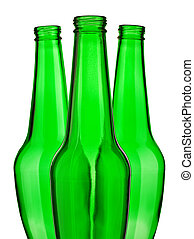 top of green beer bottle isolated