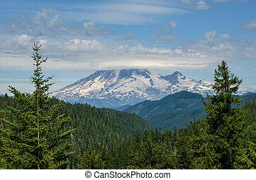 Top of Mount Rainier Hidden in Clouds