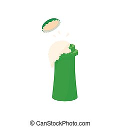 Top of open beer bottle icon, cartoon style