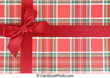 Top of present box with red ribbon