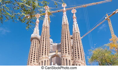 Sagrada Familia, a large Roman Catholic church in Barcelona, Spain timelapse