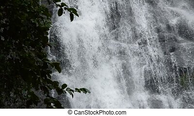 top of Sarika big waterfall in Thailand tilt down and...