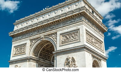 Top of the Arc de Triomphe Triumphal Arch of the Star timelapse is one of the most famous monuments in Paris
