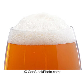 Top of the glass with beer foam