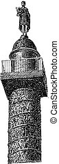 Top of the Vendôme Column, vintage engraving.