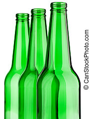 top of three green bottle isolated