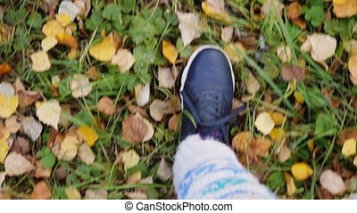 Top of view of autumn season on walking sport shoes in slow motion.