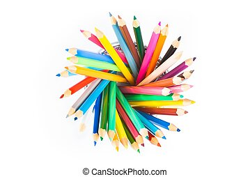 top of view of colorful pencils in container isolated on white background