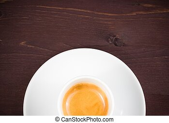 top of view of half cup of italian espresso coffee