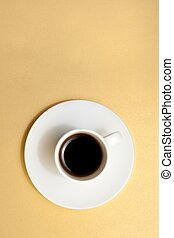 top of view of white cup of espresso coffee