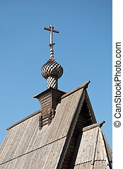 Top of wooden church in Ples, Russia