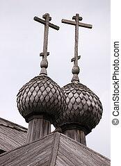 Top of wooden russian church in Kenozero