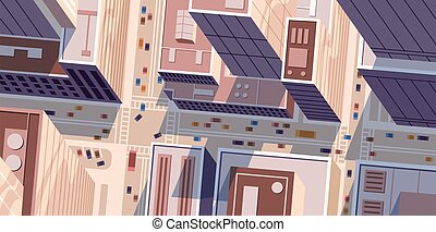 Top or birds eye view of cityscape with modern skyscrapers. Megapolis building with public transport traffic in the street. Urban downtown in day time. Horizontal flat vector cartoon illustration