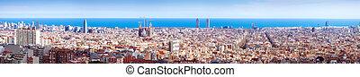 Top panoiramic kind of Barcelona in sunny day