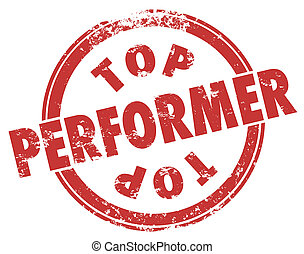 Top Performer Red Grunge Stamp Best Worker Employee Player...