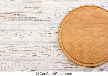 top., planche découper, blanc, rond, vide, cuisine