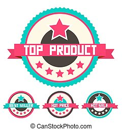 Top Product - Best Seller - Hot Price and Hot Sale Retro Vector Labels with Stars Isolated on White Background