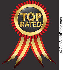 Top rated golden label with red rib