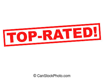 TOP-RATED red Rubber Stamp over a white background.
