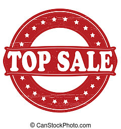 Top sale - Stamp with text top sale inside, vector...