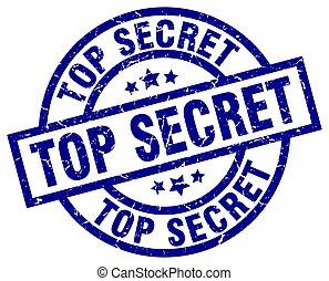 top secret blue round grunge stamp