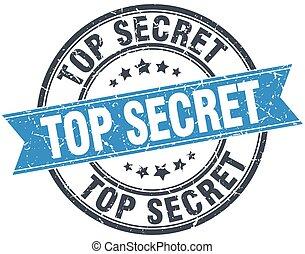 top secret blue round grunge vintage ribbon stamp
