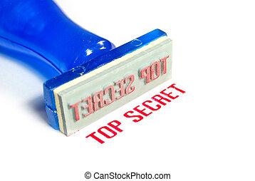 top secret blue rubber stamp