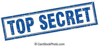 top secret blue square grunge stamp on white