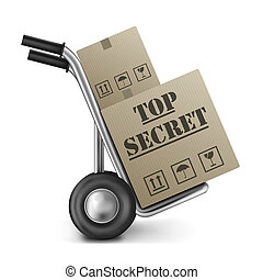 top secret cardboard box hand truck - top secret carrdboard...