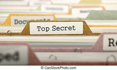 Top Secret Concept. Folders in Catalog.