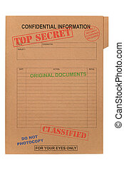 Top Secret Confidential file - A manila file with various ...