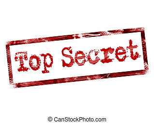 top secret stamp on red color