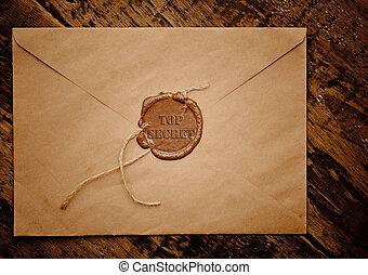 top secret envelope with stamp