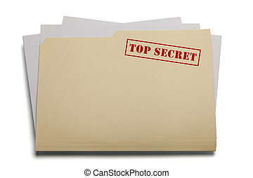 Top Secret File - Folder and papers with the words Top...