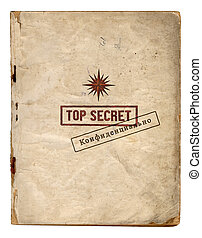 Top Secret Files Front Page With Red English And Black Russian Stamps Isolated On White Background