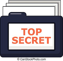 Top secret folder icon, cartoon style