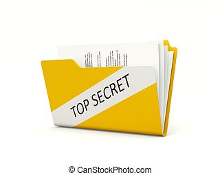 Top secret folder isolated on white
