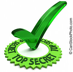 Top Secret - Green label with 3D text and check mark.