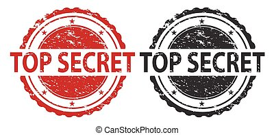 Top Secret Grunge Stamp Red and Black Isolated on white