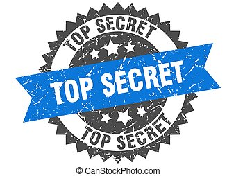 top secret grunge stamp with blue band. top secret