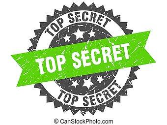 top secret grunge stamp with green band. top secret