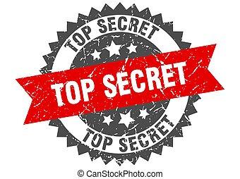 top secret grunge stamp with red band. top secret