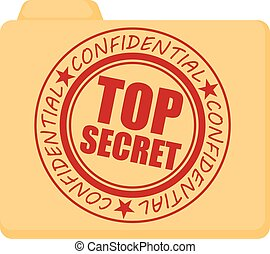 Top secret icon, cartoon style