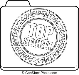 Top secret icon, outline style
