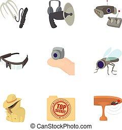 Top secret icons set, cartoon style