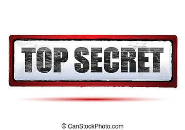top secret - illustration of top secret on isolated...