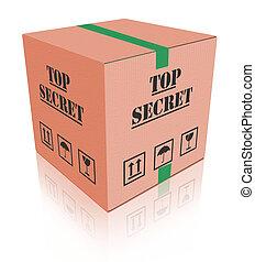 top secret, paquet, sommet, boîte, carboard